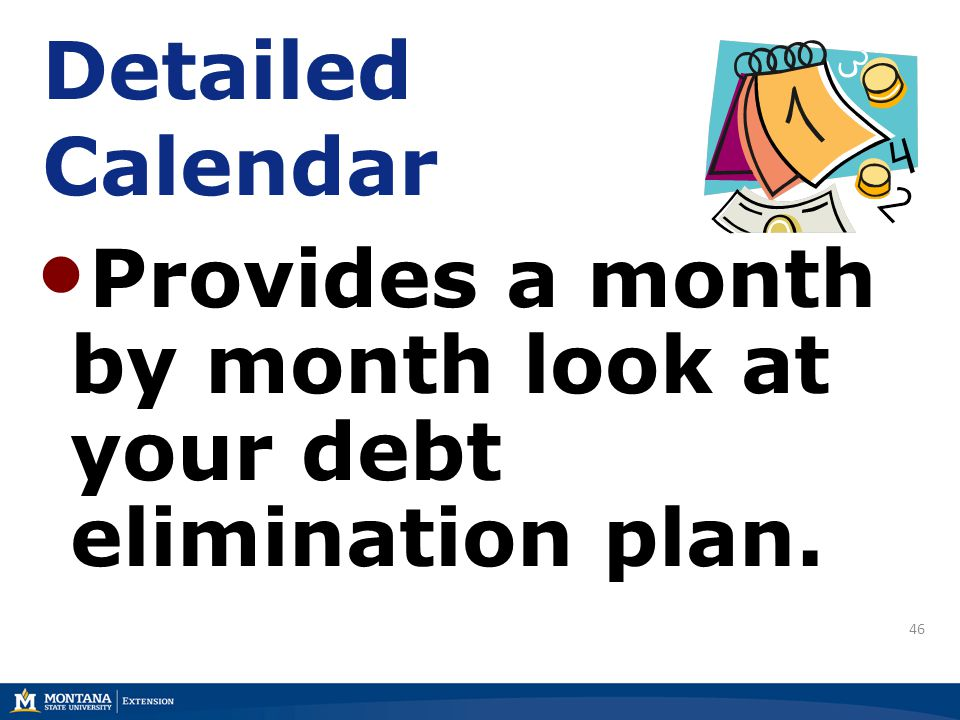 46 Detailed Calendar Provides a month by month look at your debt elimination plan.