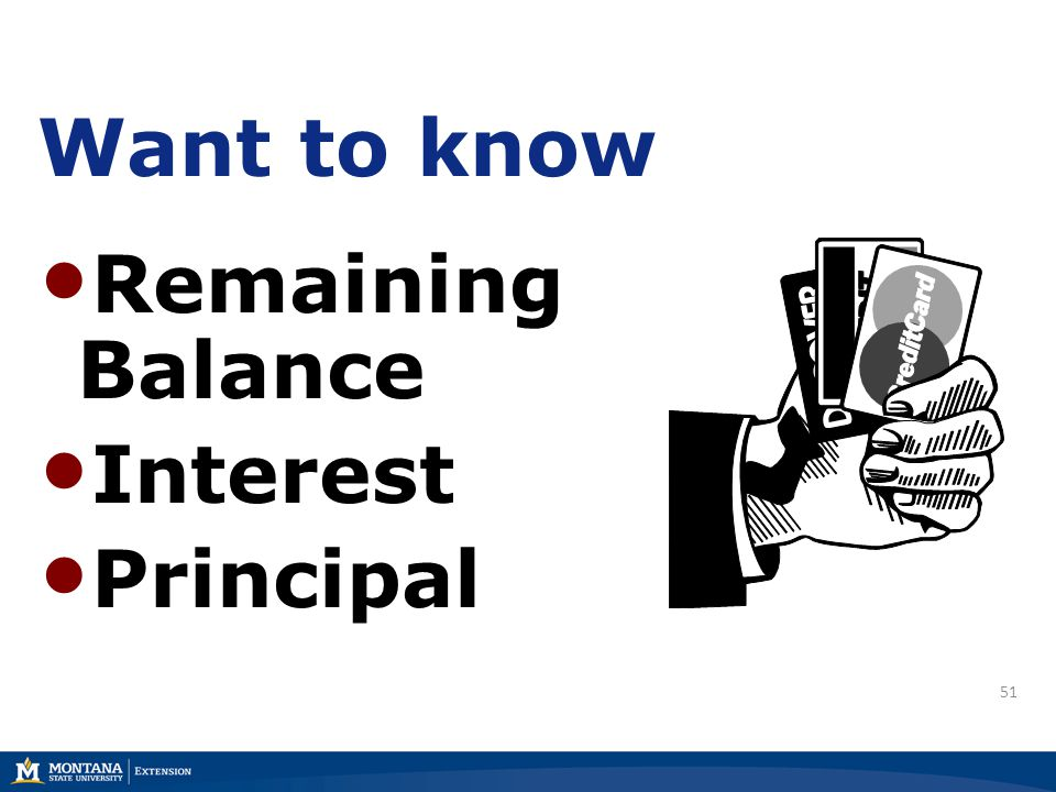 51 Want to know Remaining Balance Interest Principal