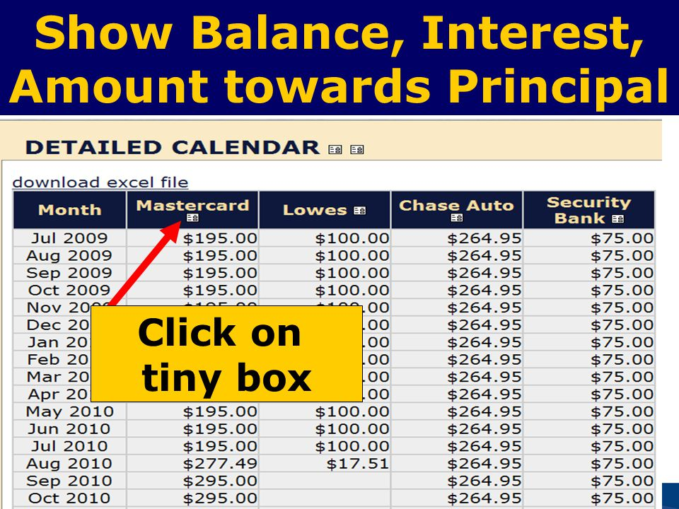 52 Show Balance, Interest, Amount towards Principal Click on tiny box
