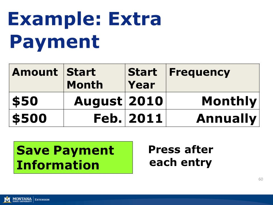 60 Example: Extra Payment AmountStart Month Start Year Frequency $50August2010Monthly $500Feb.2011Annually Save Payment Information Press after each entry