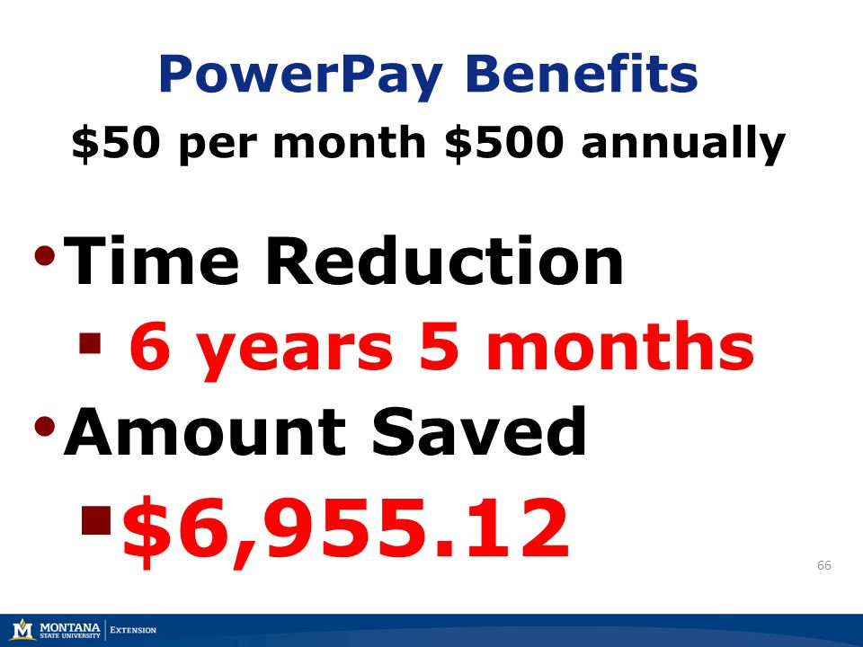 66 PowerPay Benefits $50 per month $500 annually Time Reduction  6 years 5 months Amount Saved  $6,955.12