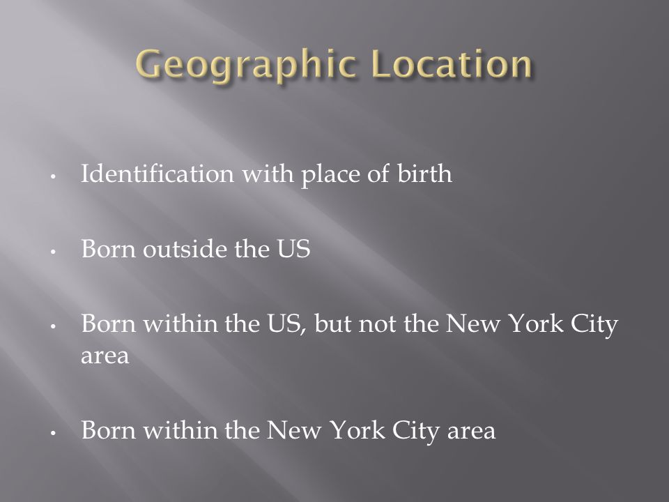 Identification with place of birth Born outside the US Born within the US, but not the New York City area Born within the New York City area
