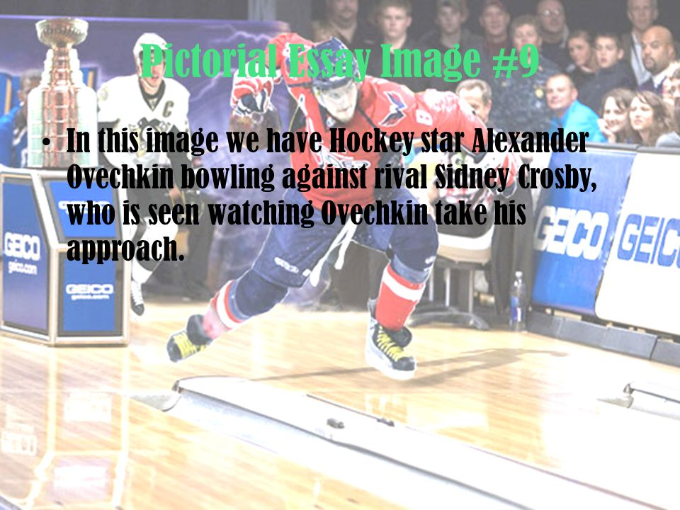 Pictorial Essay Image #9 In this image we have Hockey star Alexander Ovechkin bowling against rival Sidney Crosby, who is seen watching Ovechkin take