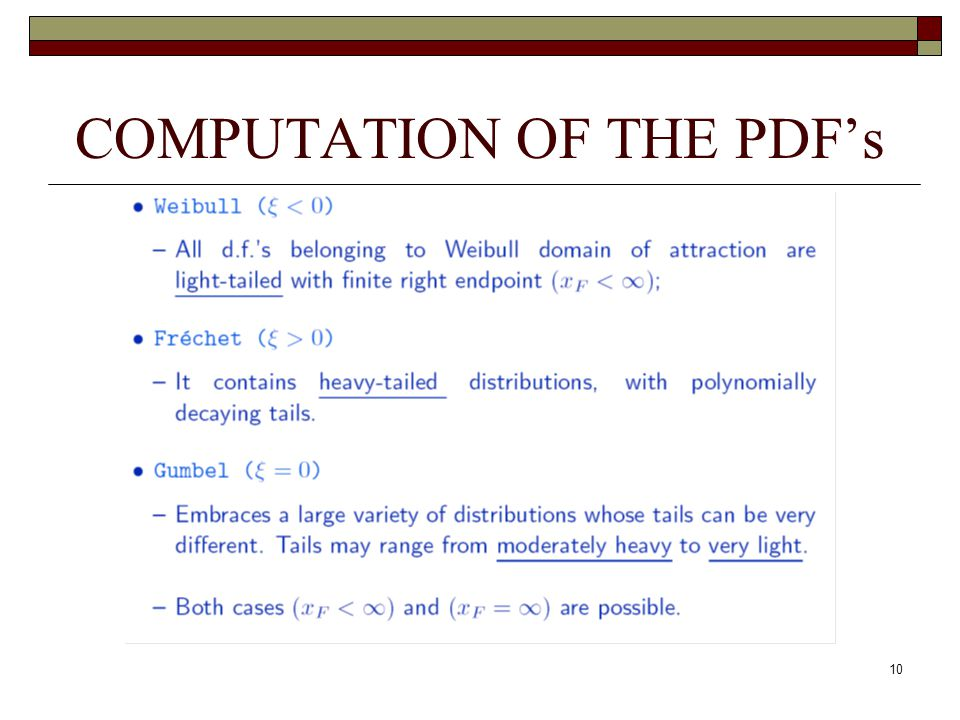 10 COMPUTATION OF THE PDF's