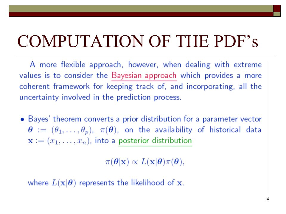 14 COMPUTATION OF THE PDF's