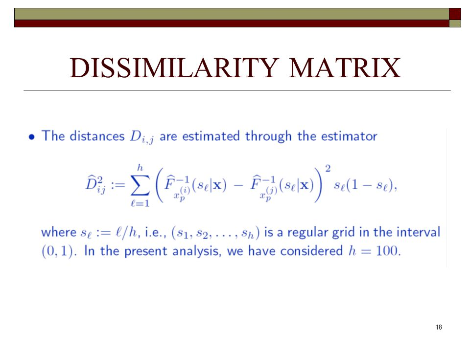 18 DISSIMILARITY MATRIX