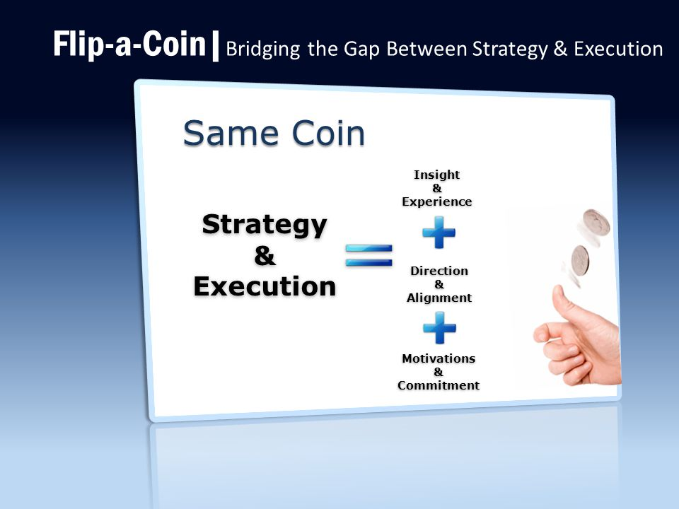 Flip-a-Coin| Bridging the Gap Between Strategy & Execution Motivations&Commitment Direction&Alignment Insight&Experience Strategy&Execution Same Coin