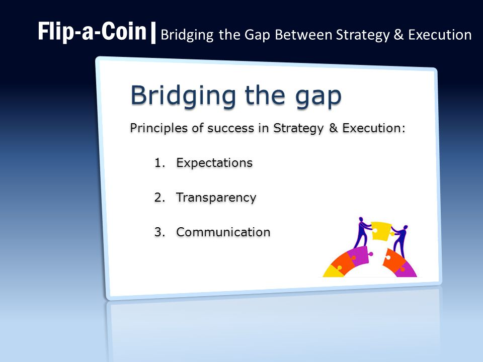 Flip-a-Coin| Bridging the Gap Between Strategy & Execution Bridging the gap Principles of success in Strategy & Execution: 1.