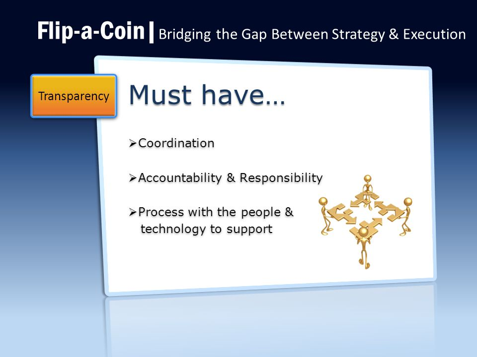 Flip-a-Coin| Bridging the Gap Between Strategy & Execution Must have…  Coordination  Accountability & Responsibility  Process with the people & technology to support technology to support Transparency