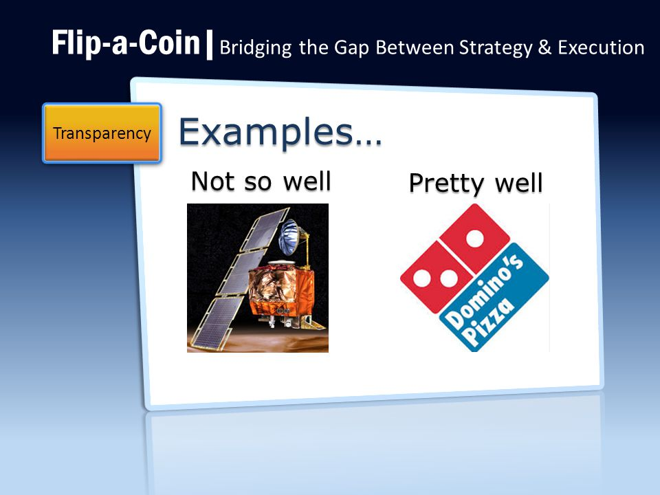 Flip-a-Coin| Bridging the Gap Between Strategy & Execution Examples… Transparency Not so well Pretty well