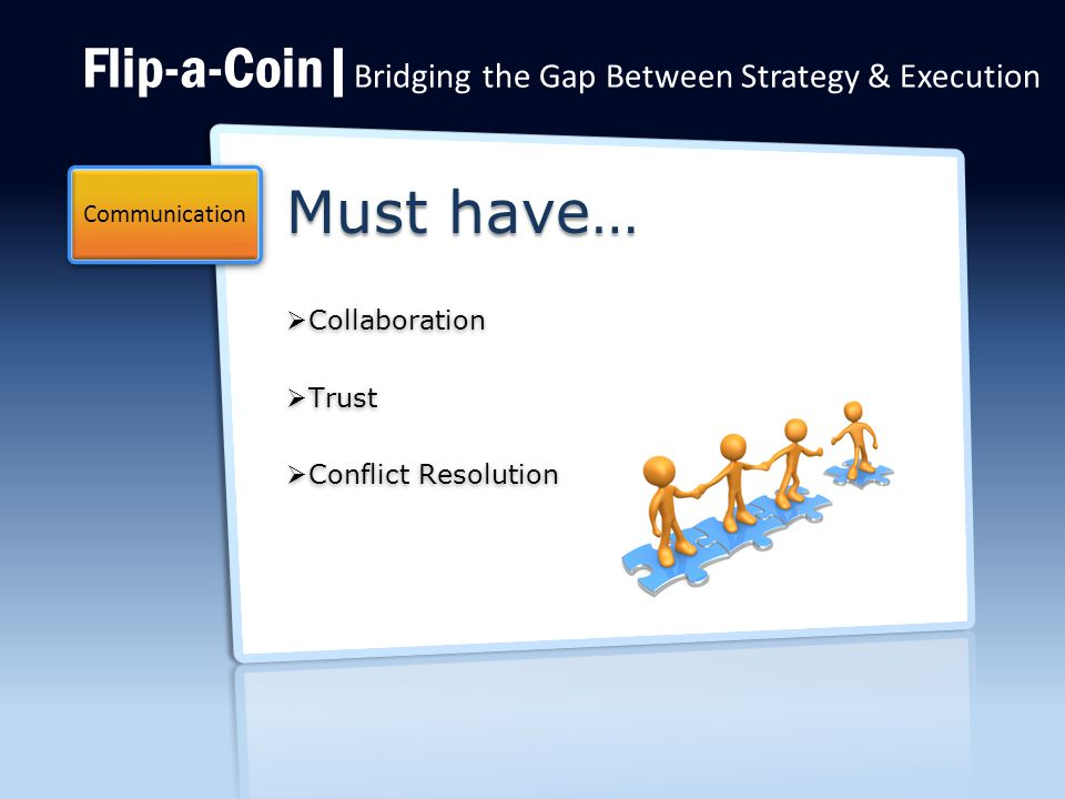 Flip-a-Coin| Bridging the Gap Between Strategy & Execution Must have…  Collaboration  Trust  Conflict Resolution Communication