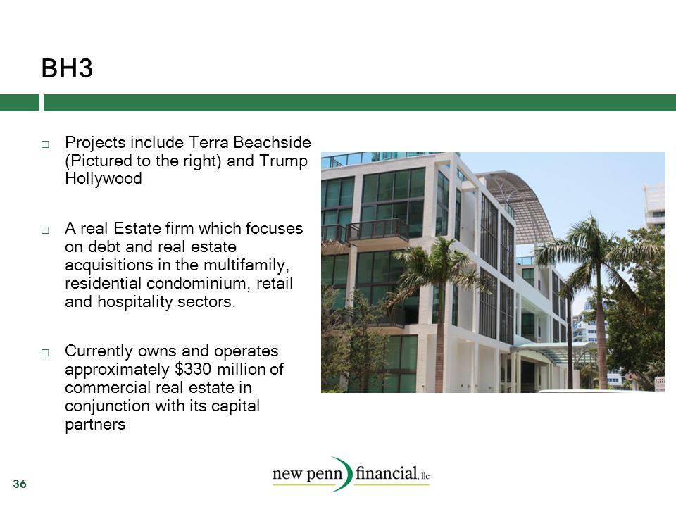 BH3 36  Projects include Terra Beachside (Pictured to the right) and Trump Hollywood  A real Estate firm which focuses on debt and real estate acqui