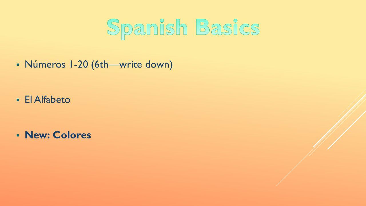  Números 1-20 (6th—write down)  El Alfabeto  New: Colores