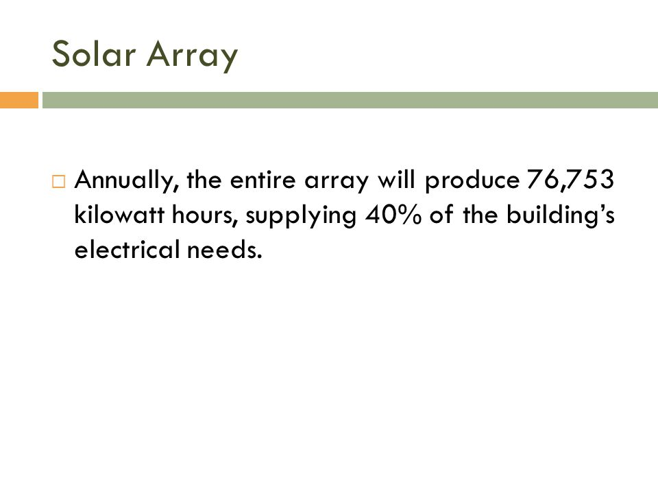 Solar Array  Annually, the entire array will produce 76,753 kilowatt hours, supplying 40% of the building's electrical needs.