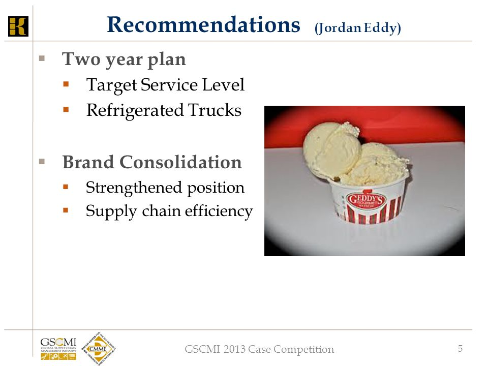 GSCMI 2013 Case Competition 5 Recommendations (Jordan Eddy)  Two year plan  Target Service Level  Refrigerated Trucks  Brand Consolidation  Stren