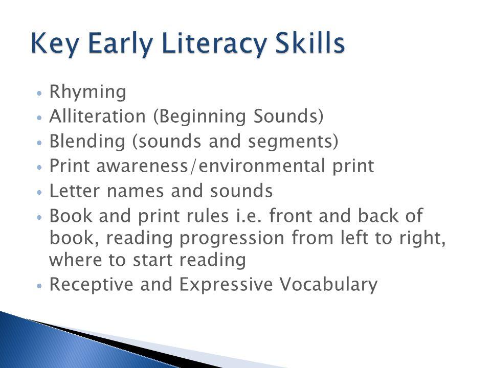 Rhyming Alliteration (Beginning Sounds) Blending (sounds and segments) Print awareness/environmental print Letter names and sounds Book and print rule
