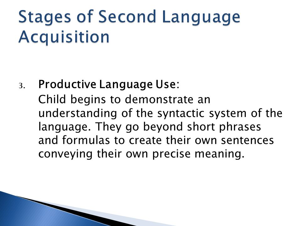 3. Productive Language Use: Child begins to demonstrate an understanding of the syntactic system of the language. They go beyond short phrases and for