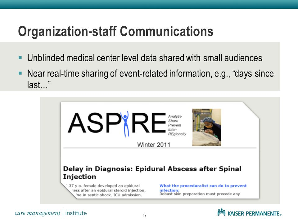 Organization-staff Communications  Unblinded medical center level data shared with small audiences  Near real-time sharing of event-related information, e.g., days since last… 19