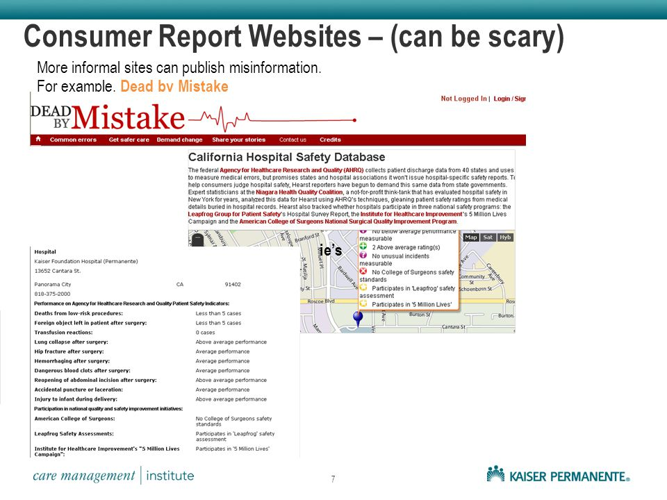 Consumer Report Websites – (can be scary) More informal sites can publish misinformation.