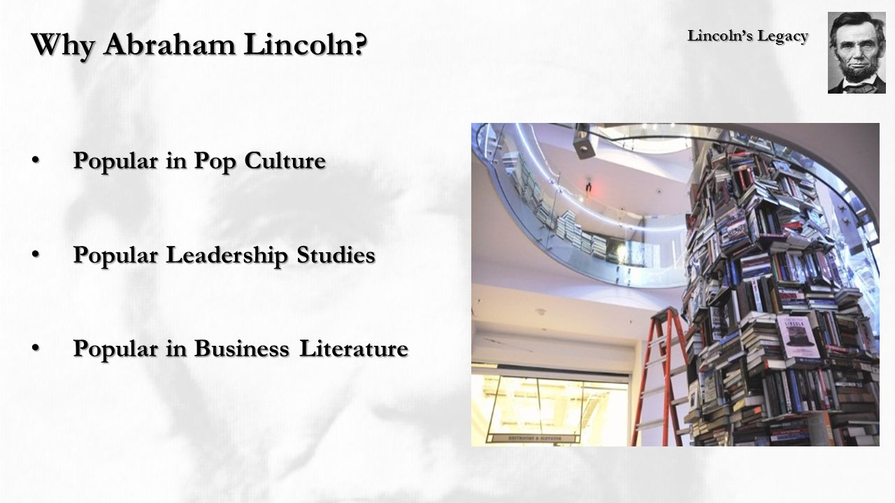 Lincoln's Legacy Why Abraham Lincoln? Popular in Pop Culture Popular in Pop Culture Popular Leadership Studies Popular Leadership Studies Popular in B
