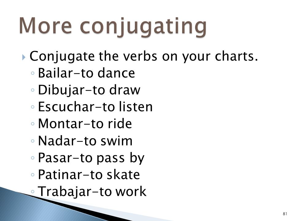  Conjugate the verbs on your charts. ◦ Bailar-to dance ◦ Dibujar-to draw ◦ Escuchar-to listen ◦ Montar-to ride ◦ Nadar-to swim ◦ Pasar-to pass by ◦ P