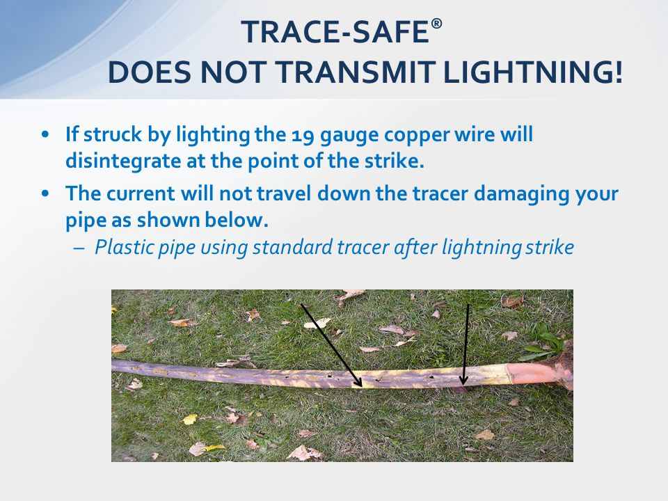 If struck by lighting the 19 gauge copper wire will disintegrate at the point of the strike. The current will not travel down the tracer damaging your