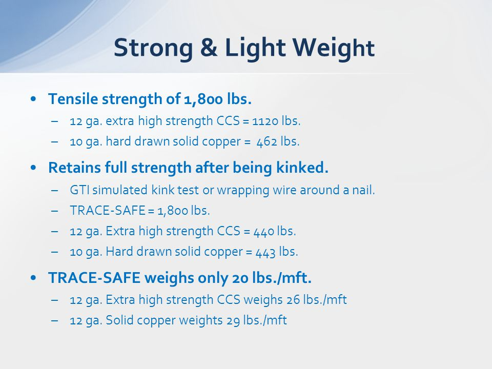 Tensile strength of 1,800 lbs. –12 ga. extra high strength CCS = 1120 lbs. –10 ga. hard drawn solid copper = 462 lbs. Retains full strength after bein