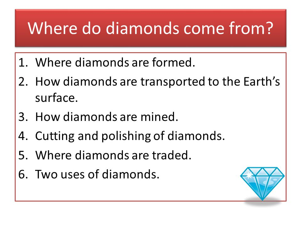 Where do diamonds come from. 1.Where diamonds are formed.
