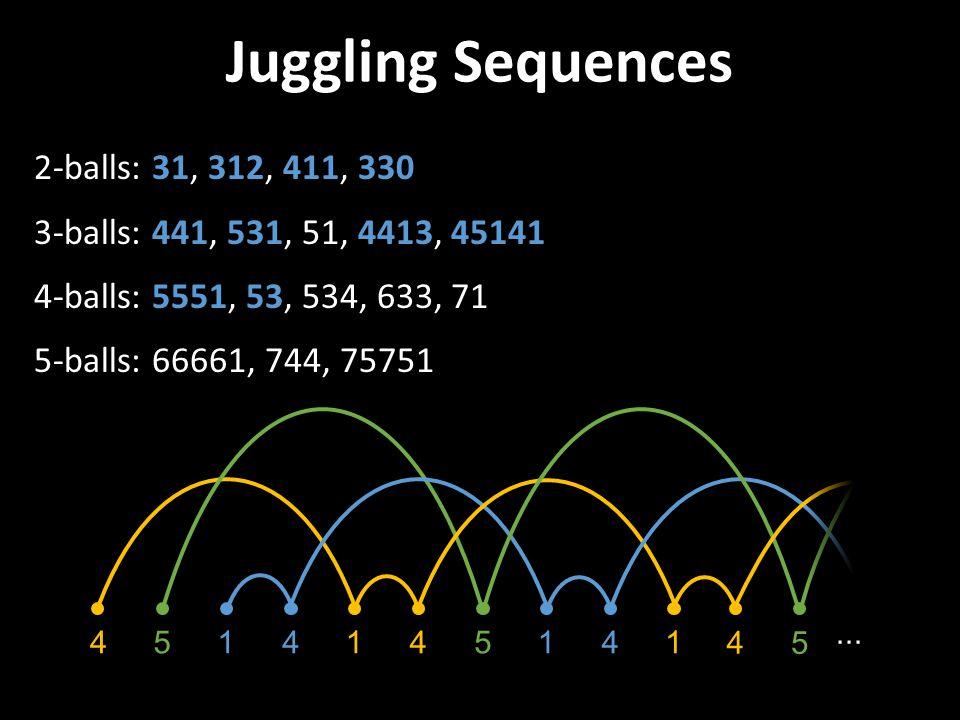 Juggling Sequences 2-balls: 31, 312, 411, 330 3-balls: 441, 531, 51, 4413, 45141 4-balls: 5551, 53, 534, 633, 71 5-balls: 66661, 744, 75751 415415414∙∙∙ 1 4 5