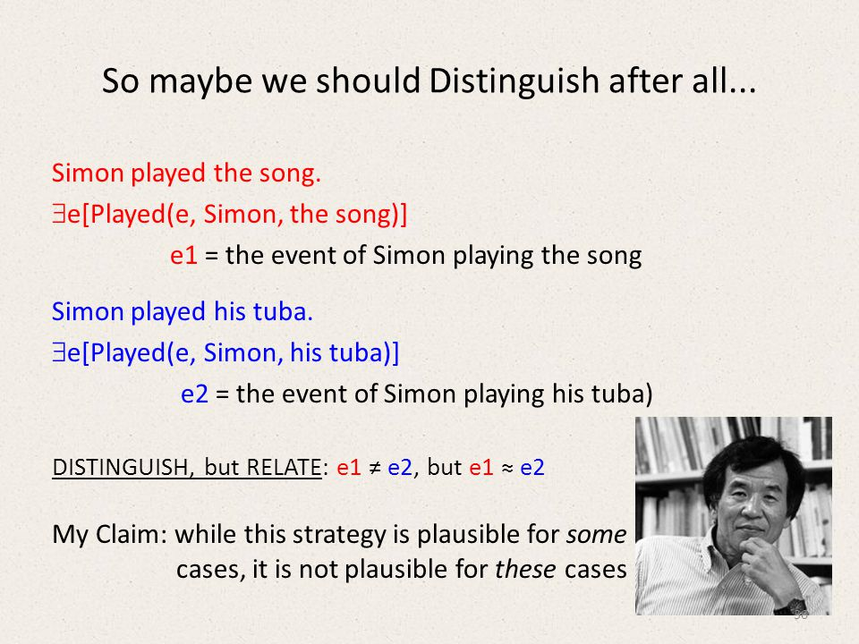 So maybe we should Distinguish after all... Simon played the song.