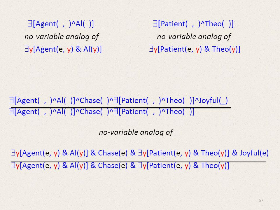 [ Agent(, )^Al( )]  [ Patient(, )^Theo( )] no-variable analog of no-variable analog of  y[Agent(e, y) & Al(y)]  y[Patient(e, y) & Theo(y)]  [ Agent(, )^Al( )]^Chase( )^  [ Patient(, )^Theo( )]^Joyful(_)  [ Agent(, )^Al( )]^Chase( )^  [ Patient(, )^Theo( )] no-variable analog of  y[Agent(e, y) & Al(y)] & Chase(e) &  y[Patient(e, y) & Theo(y)] & Joyful(e)  y[Agent(e, y) & Al(y)] & Chase(e) &  y[Patient(e, y) & Theo(y)] 57