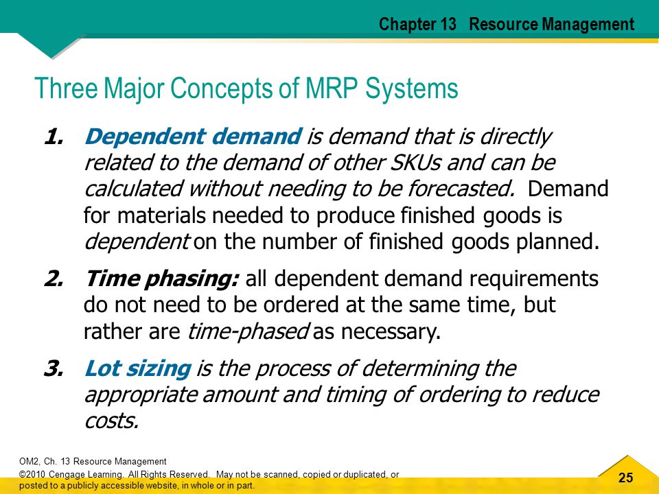 25 OM2, Ch. 13 Resource Management ©2010 Cengage Learning.