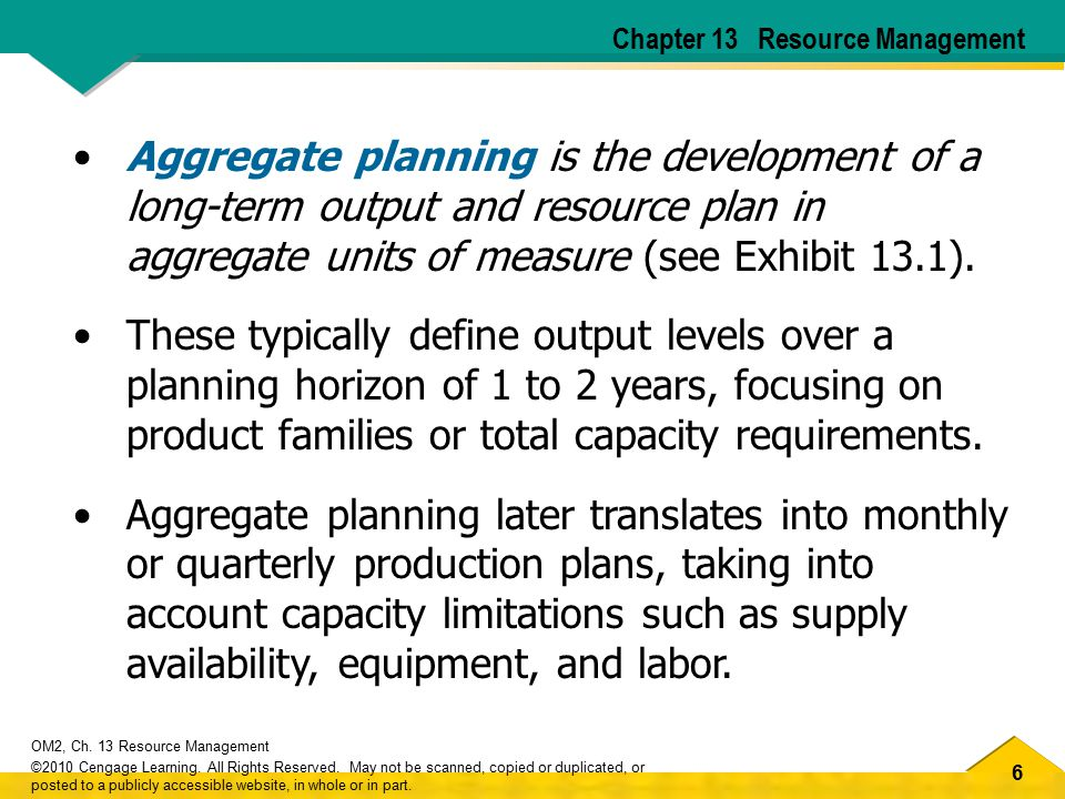 37 OM2, Ch.13 Resource Management ©2010 Cengage Learning.