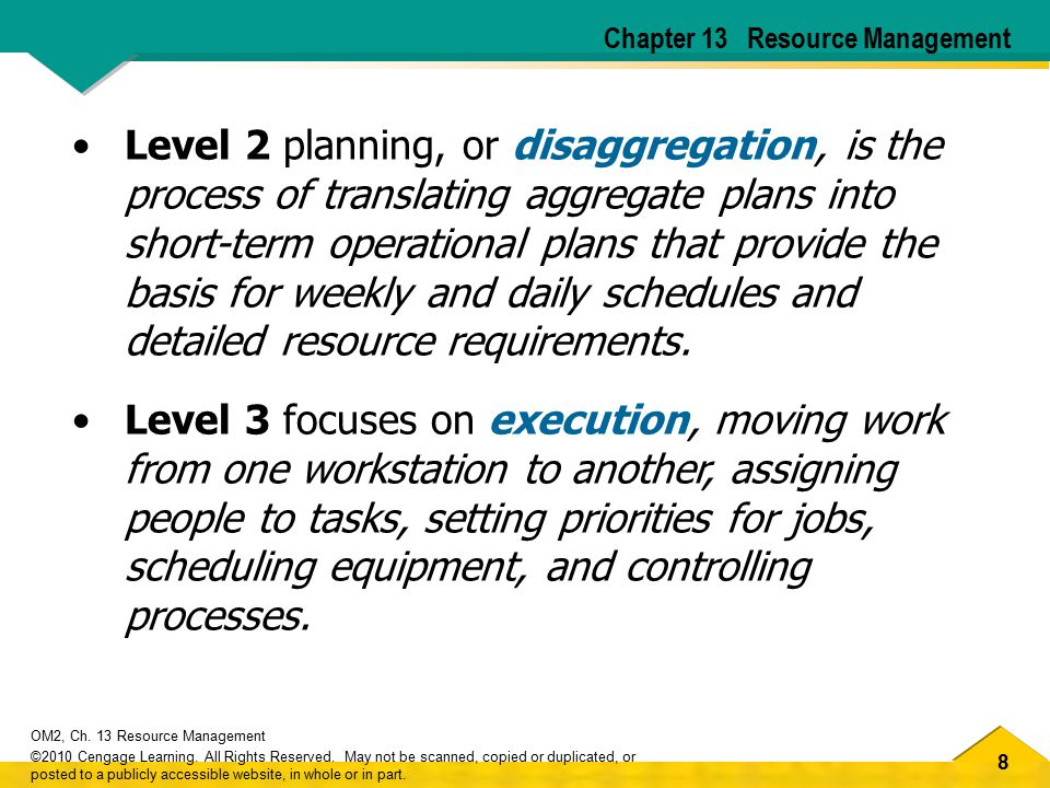 8 OM2, Ch. 13 Resource Management ©2010 Cengage Learning.