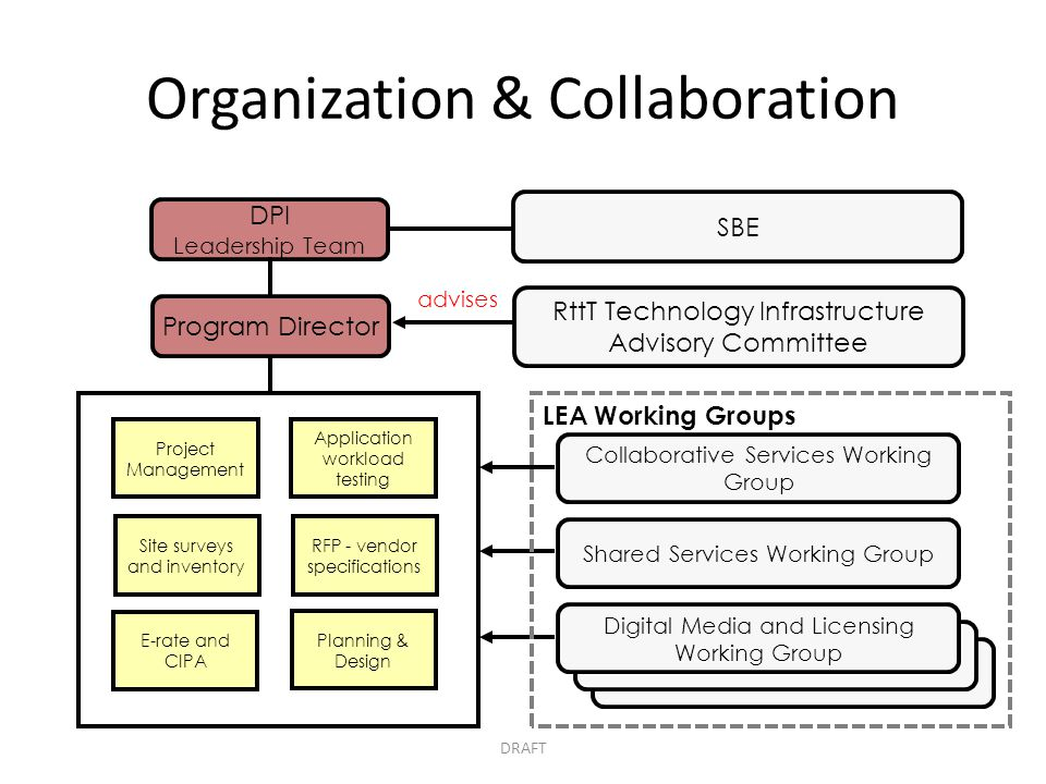 Organization & Collaboration DPI Leadership Team RttT Technology Infrastructure Advisory Committee Project Management Site surveys and inventory Appli