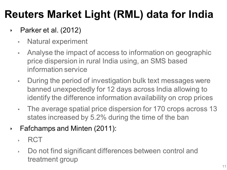 Reuters Market Light (RML) data for India ‣ Parker et al.