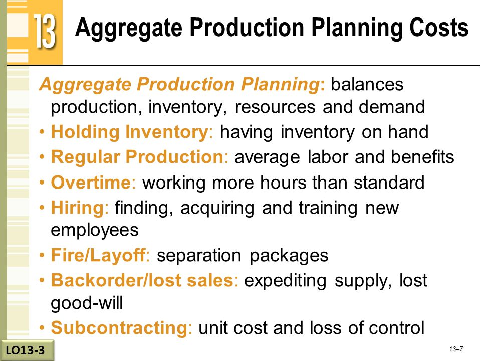 Aggregate Production Planning Costs Aggregate Production Planning: balances production, inventory, resources and demand Holding Inventory: having inve