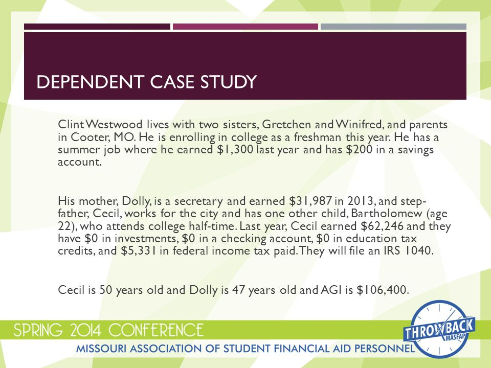 DEPENDENT CASE STUDY Clint Westwood lives with two sisters, Gretchen and Winifred, and parents in Cooter, MO.