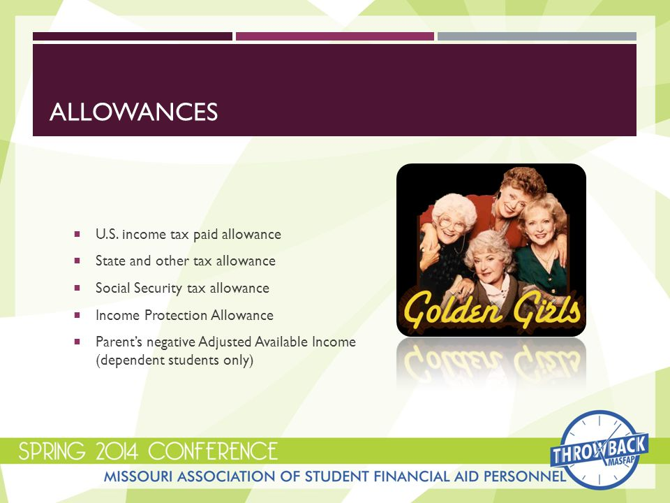 INCOME PROTECTION ALLOWANCE  Allowance for basic living expenses of a family, which varies according to the number in the household and college  In general, it can be assumed that:  30% of IPA is for food  22% of IPA is for housing  9% of IPA is for transportation expenses  16% of IPA is for clothing/personal care  11% of IPA is for medical care  12% of IPA is for other family consumption