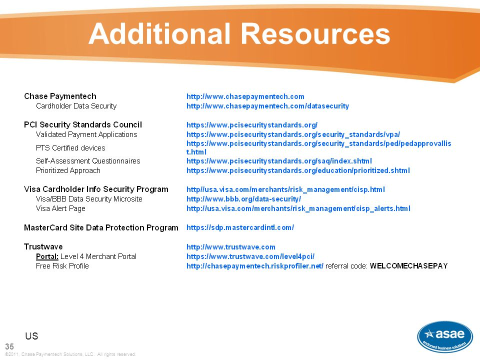 Additional Resources US 35 ©2011, Chase Paymentech Solutions, LLC. All rights reserved.