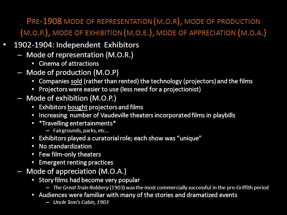 P RE -1908 MODE OF REPRESENTATION ( M.O. R ), MODE OF PRODUCTION ( M.