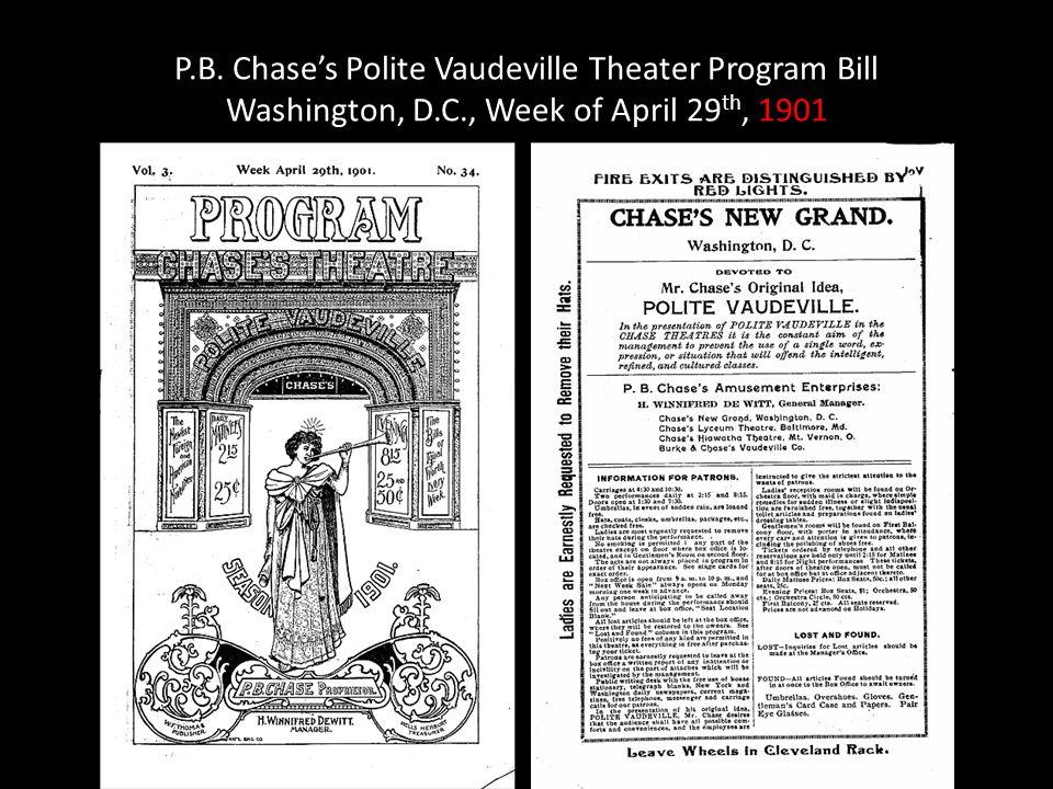 P.B. Chase's Polite Vaudeville Theater Program Bill Washington, D.C., Week of April 29 th, 1901