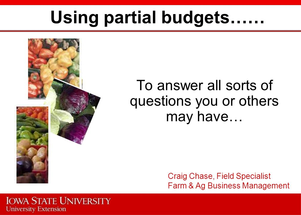 Partial Budget A partial budget allows you to analyze a portion of your farm to determine if minor adjustments should be made.