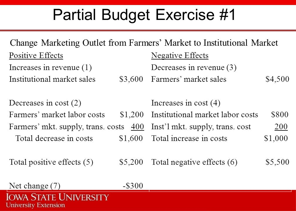 Partial Budget Exercise #2 Analyze the purchase of a new 1-row potato harvester ($2,000, 7-yr life) Positive EffectsNegative Effects Increases in revenue (1)Decreases in revenue (3) Decreases in cost (2)Increases in cost (4) Labor (100 hrs) $1,000Labor (2 hrs) $ 20 Depreciation cost 286 Taxes, housing, insurance (1%) 20 Repairs and maintenance (2%) 40 Total decrease in costs $1,000Total increase in costs $366 Total positive effects (5) $1,000Total negative effects (6) $366 Net change (7) $634 (per acre)