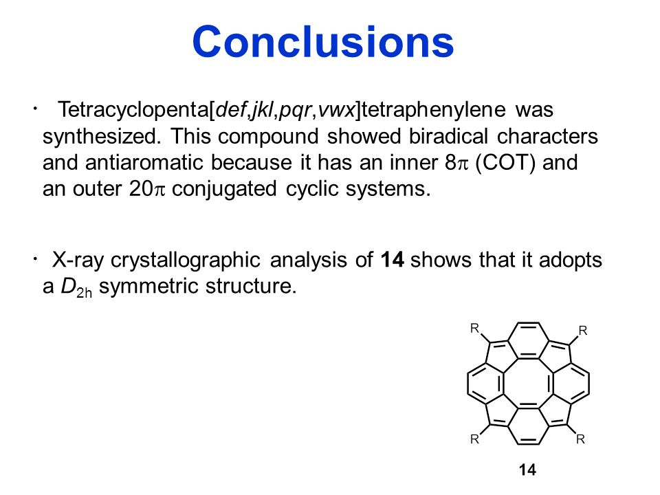 Conclusions ・ Tetracyclopenta[def,jkl,pqr,vwx]tetraphenylene was synthesized.