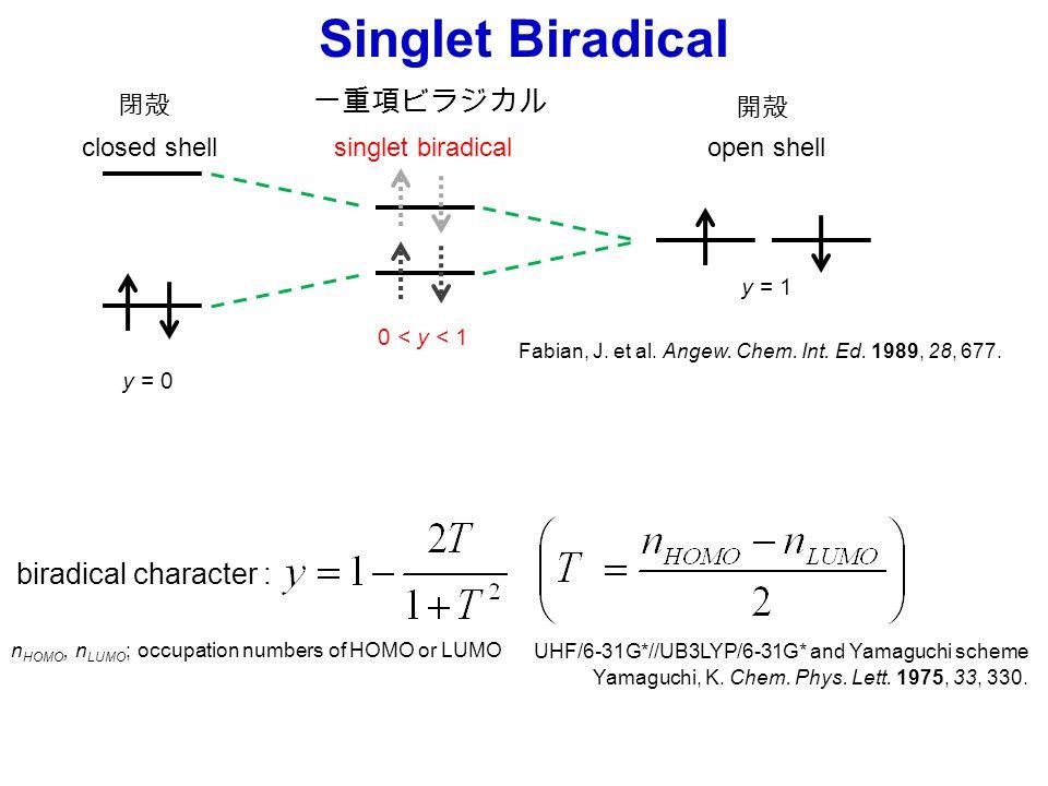 Singlet Biradical UHF/6-31G*//UB3LYP/6-31G* and Yamaguchi scheme Yamaguchi, K. Chem. Phys. Lett. 1975, 33, 330. n HOMO, n LUMO ; occupation numbers of