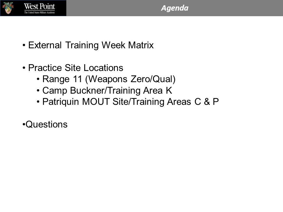 Agenda External Training Week Matrix Practice Site Locations Range 11 (Weapons Zero/Qual) Camp Buckner/Training Area K Patriquin MOUT Site/Training Areas C & P Questions