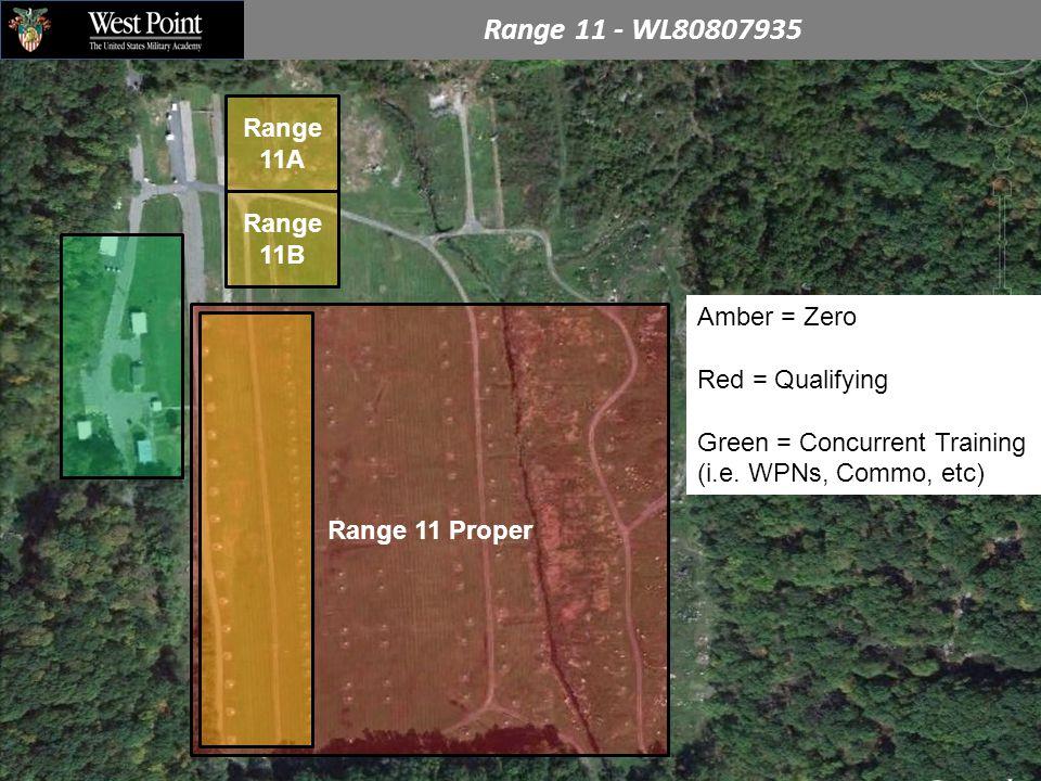 Range 11 - WL80807935 Range 11A Range 11 Proper Amber = Zero Red = Qualifying Green = Concurrent Training (i.e.