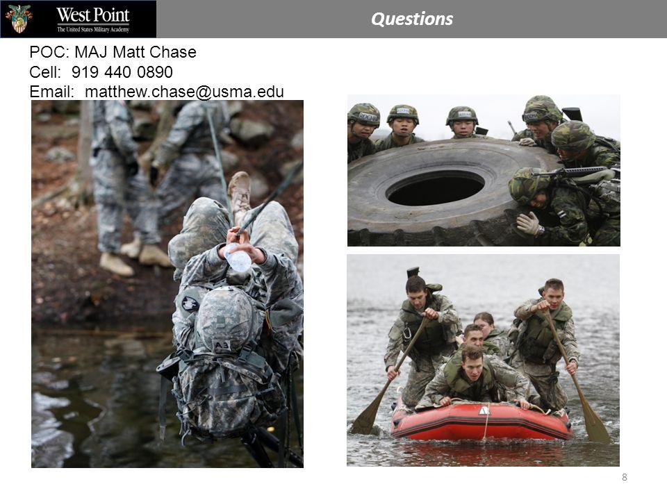 Questions 8 POC: MAJ Matt Chase Cell: 919 440 0890 Email: matthew.chase@usma.edu