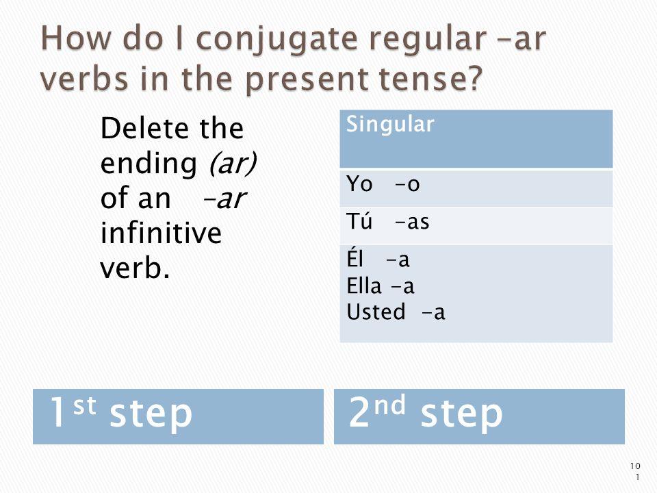 1 st step2 nd step 101 Singular Yo -o Tú -as Él -a Ella -a Usted -a Delete the ending (ar) of an –ar infinitive verb.
